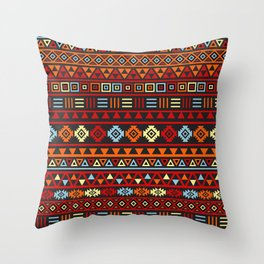 Aztec Influence Ptn IV Orange Red Blue Black Yellow Throw Pillow