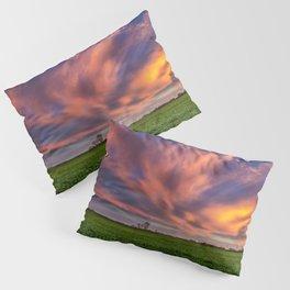 Natural Beauty - Sunlight Illuminates Clouds on Spring Evening in Oklahoma Pillow Sham