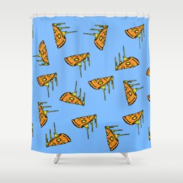 Pepperoni Pizza Dripping Cheese by the Slice Pattern (light blue) Shower Curtain