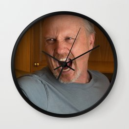 Angry Man with handgun in kitchen Wall Clock