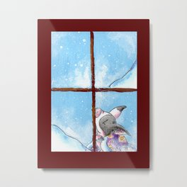 Staying in to Watch the Snow Metal Print