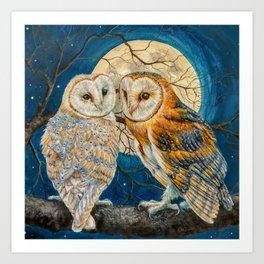 Owl Moon Stars (square comp) Art Print