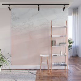 Blush Pink on White and Gray Marble II Wall Mural
