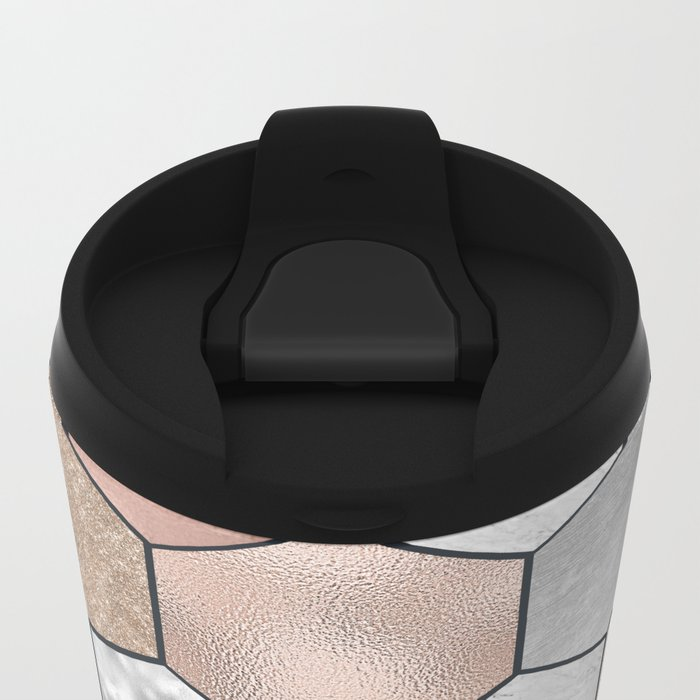 Marble hexagons and rose gold on black Metal Travel Mug