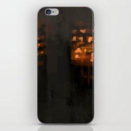 Burning city buildings urban destruction digital illustration iPhone Skin