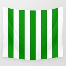 Islamic green - solid color - white vertical lines pattern Wall Tapestry