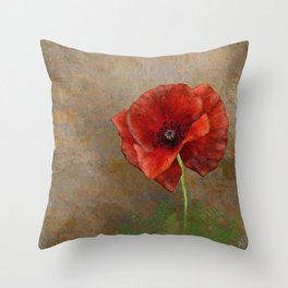 Poppy Resistance - Flowers... make everything nicer! Hand-drawn illustration, grunge texture Throw Pillow