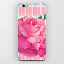 Rose On Plaid iPhone Skin