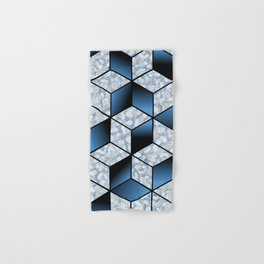Abstract Blue Cubic Effect Design Hand & Bath Towel