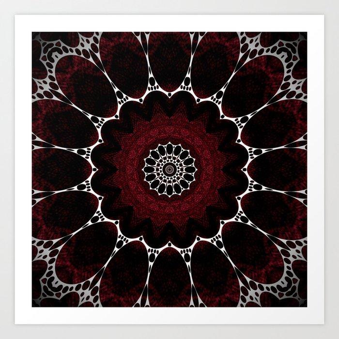 Deep Ruby Red Mandala Design Art Print