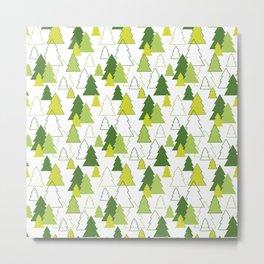 Christmas Tree winter forest seamless pattern Metal Print