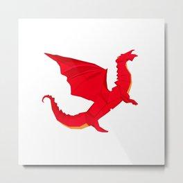 Origami Red Dragon Metal Print