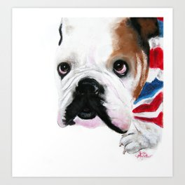 Nosey British Bulldog ' REGGIE ' by Shirley MacArthut Art Print