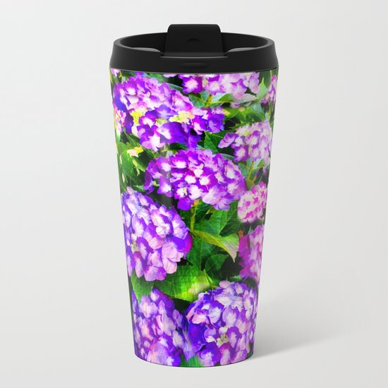 Elegant Purple & Lavender Hydrangea Metal Travel Mug