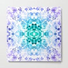 Floral Print - Teal & Purple Metal Print