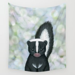 striped skunk woodland animal portrait Wall Tapestry