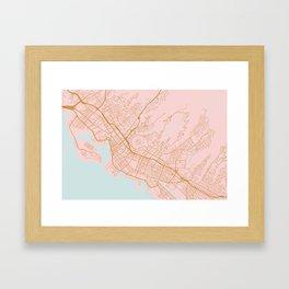 Honolulu map, Hawaii Framed Art Print