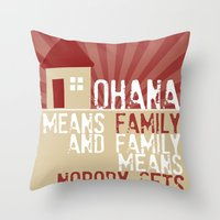 lilo and stitch Throw Pillows featuring Ohana Means Family - Lilo & Stitch by Crafts and Dogs