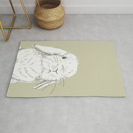 Curious Holland Lop Bunny - Taupe Rug