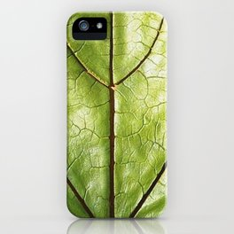GREEN ORGANIC LEAF WITH VEINS DESIGN ART iPhone Case