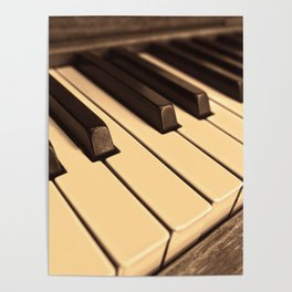 Old Wooden Piano Poster