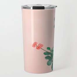 Floral photography print | Green on coral | Botanical photo art Travel Mug