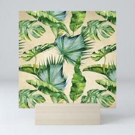 Green Tropics Leaves on Linen Mini Art Print