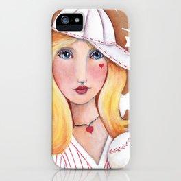 Whimsical Baseball Girl iPhone Case