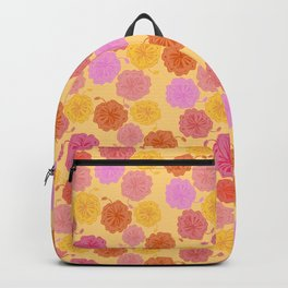 Hibiscus Hawaiian Flowers in Pinks and Corals on Yellow Backpack