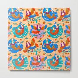 Firebirds and mermaids Metal Print