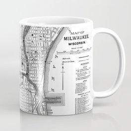 Vintage Map of Milwaukee Wisconsin (1891) BW Coffee Mug