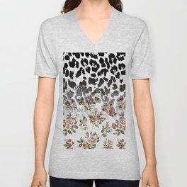 Abstract black white brown floral animal print Unisex V-Neck
