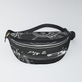 Turntable Patent - White on Black Fanny Pack