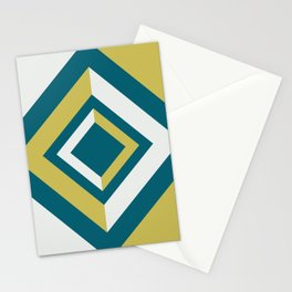 Tropical Dark Teal Inspired by Sherwin Williams 2020 Trending Color Oceanside SW6496 Dark Yellow and Off White Geometric Shapes Diamond Minimal Illustration Stationery Cards