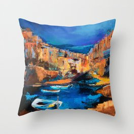 Night Colors Over Riomaggiore - Cinque Terre Throw Pillow