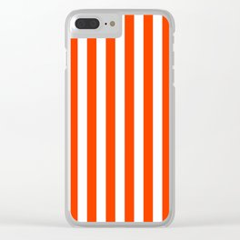 Orange Pop and White Vertical Cabana Tent Stripes Clear iPhone Case