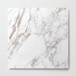 Rose gold shimmer vein marble Metal Print