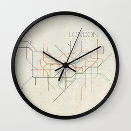 Minimal London Subway Map Wall Clock