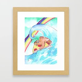 surfing sloth pizza rainbow Framed Art Print