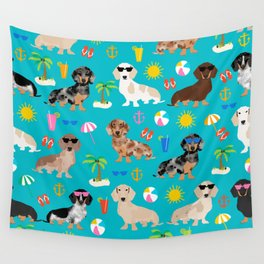 Dachshunds beach summer tropical vacation weener dogs doxie gifts Wall Tapestry