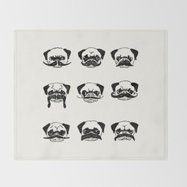 Moustaches of The Pug Throw Blanket