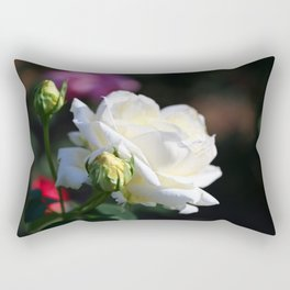 Pure White Rose Rectangular Pillow