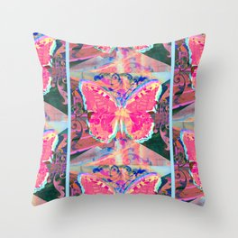 Stained Glass Butterflies Throw Pillow