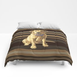 Happy Yellow Labrador Retriever Retro Comforters