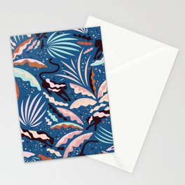 Exotic Wilderness on Blue / Panthers and Plants Stationery Cards