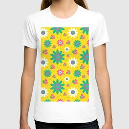 Retro Fall 60's Sunflower Floral in Yellow T-shirt