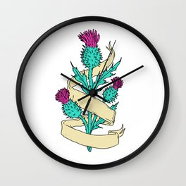 Scottish Thistle With Ribbon Color Drawing Wall Clock
