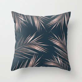 Rose Gold Palm Leaves 4 Throw Pillow