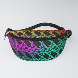 Royal pattern of neon squiggles and light blue ropes on a black background. Fanny Pack