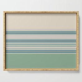 Mint Green Cream Stripes Serving Tray